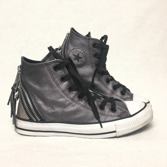 Converse Shoes - Converse All Stars Leather Hi Top Zippers   Fringe 8038ac97740c1